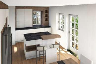 moderne Küche mit Kontrasten und Holzdekor